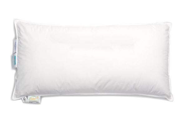 Hochwertiges Federkissen/Kopfkissen versteppt, Füllung: 90% Daunen/10% Federn, verfügbar in den Größen 40x80 cm, 60x80 cm, 70x80 cm und 80x80 cm, Farbe weiß, Serie Holle