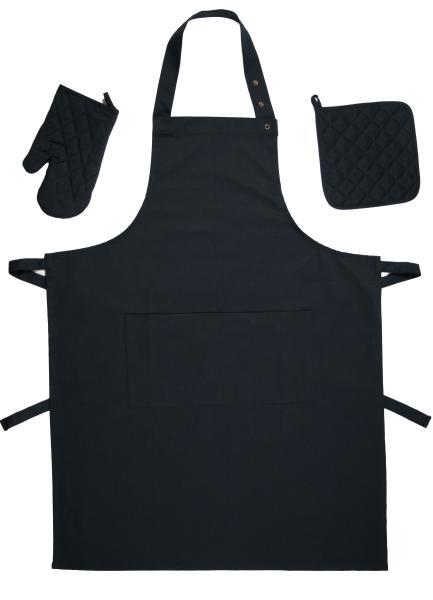 3-teiliges Küchenstarter Set bestehen aus 1 Topflappen 1 Ofenhandschuh und einer Küchenschürze aus 100% Baumwolle, verfügbar in den Farben schwarz, grau und schwarz/weiß-gestreift , Serie Paolo
