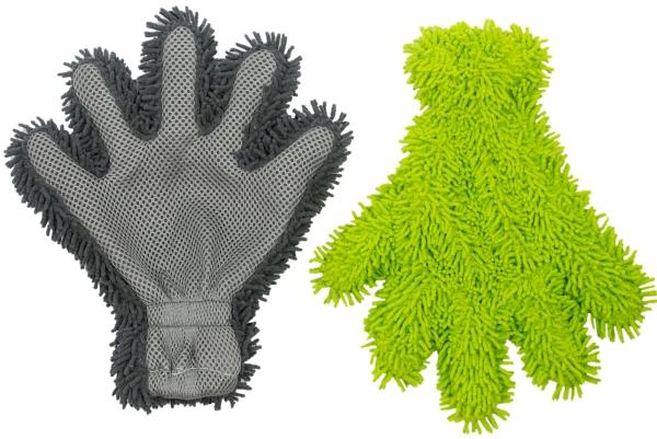 Fingerhandschuh für Autopflege (2er-Set), grün/grau