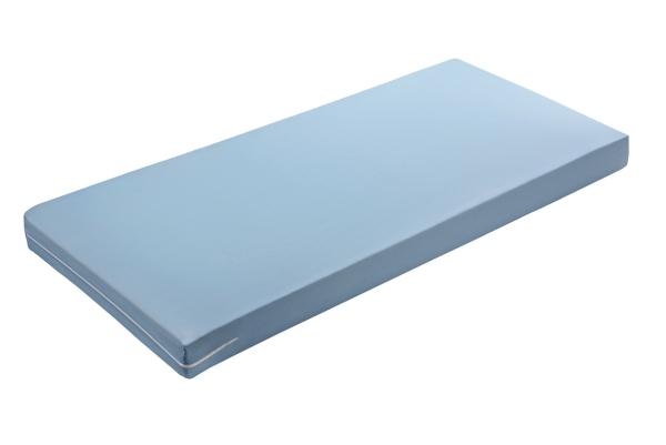PU-Schaummatratze mit blauen Trikotbezug, verfügbar in den in den Größen ca. 90x200 cm und ca. 100x200 cm, Serie San-Basis