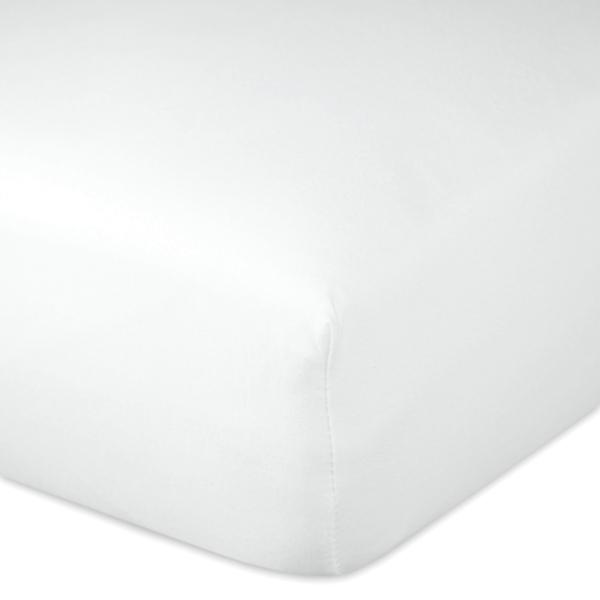Pflegeleichtes Spannbetttuch/Spannbettlaken aus einem angenehmen Baumwoll-Polyester-Gemisch, verfügbar in den Größen: 100x200 cm, 160x200 cm und 200x200 cm, Farbe weiß, Serie Bravissima,