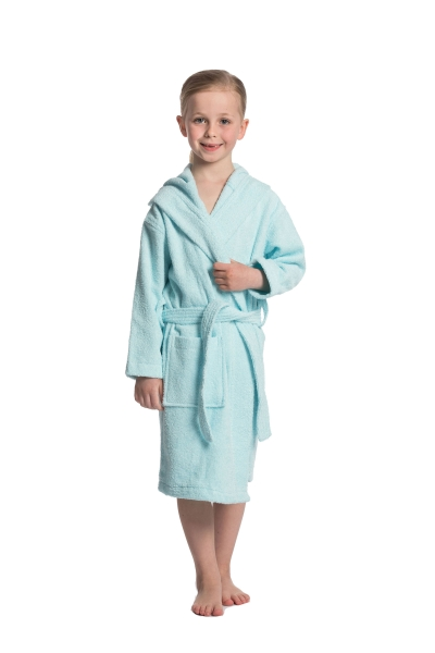 Kinderbademantel mit Kapuze aus 100% Baumwolle, verfügbar in drei Größen und Farben 116/128 cm (mint), 140/152 cm (hellblau) und 164/176 cm (gelb), Serie Junior