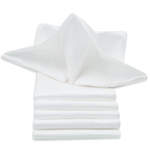 6er-Set Damast Stoffservietten/Mundservietten mit edlem Atlasstreifen aus 100% Baumwolle, in den Größen 40x40 cm und 50x50 cm, Farbe weiß, Serie Rialto