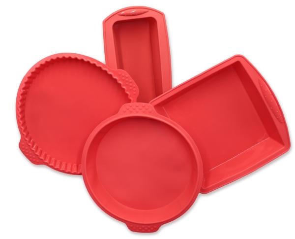 4-er Set Silikonbackformen, bestehend aus: 1x Kastenform ca. 21x8,5x6 cm, Backform eckig ca. 18x19x5 cm, Backform rund Ø ca. 22 cm und Bodenform ca. Ø 25 cm, Farbe rot, Serie Back-4