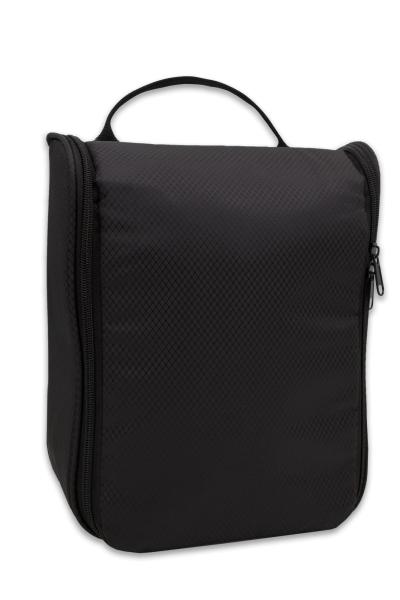 Wasserdichte Kosmetiktasche mit Tragetasche aus robustem Kunststoff, Größe ca. 27x22x10 cm, Farbe schwarz, Serie Cosmo