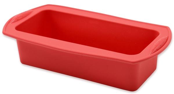 flexible Kastenform aus Silikon, Größe ca. 21x8,5x6cm, Farbe rot