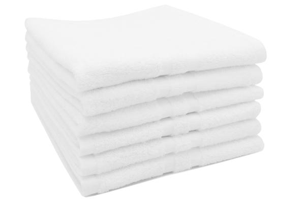 6er-Set kochfeste Handtücher aus 100% saugfähiger Baumwolle, Größe ca. 50x70 cm, Farbe weiß, Serie Amalfi
