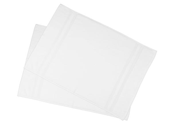 2er-Set kochfeste Badematte aus 100% saugfähiger Baumwolle, Größe ca. 50x75 cm, Farbe weiß, Serie Amalfi