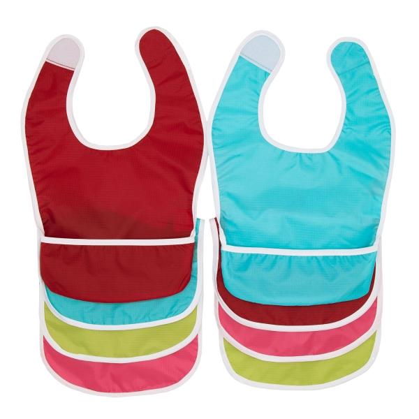 8er Set Babylätzchen mit Auffangmulde, Größe ca. 37x23 cm, aus robusten Polyester, Farben können variieren