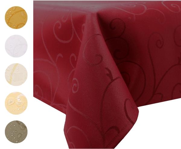 Abwischbarer Tischläufer mit edlem Ornamentmuster aus 100% strapazierfähigem Polyester, mit Fleckschutzausrüstung, Größe ca. 40x180 cm, verfügbar in sechs edlen Farben