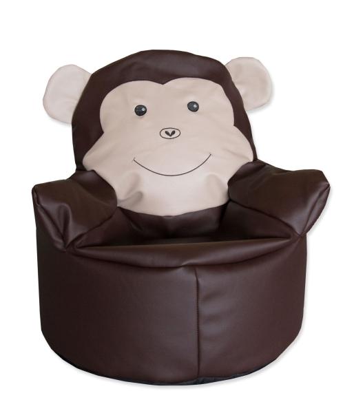 Zuckersüßer Sitzsack, Bezug aus strapazierfähigem Kunstleder, Füllung aus Styroporkügelchen, Farbe braun
