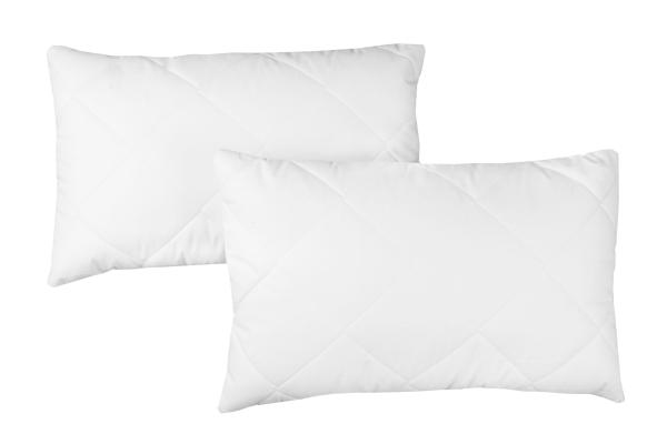 2-er Set Kopfkissen versteppt aus 100% Polyester, verfügbar in vier verschiedenen Größen, Farbe weiß, Serie Davos