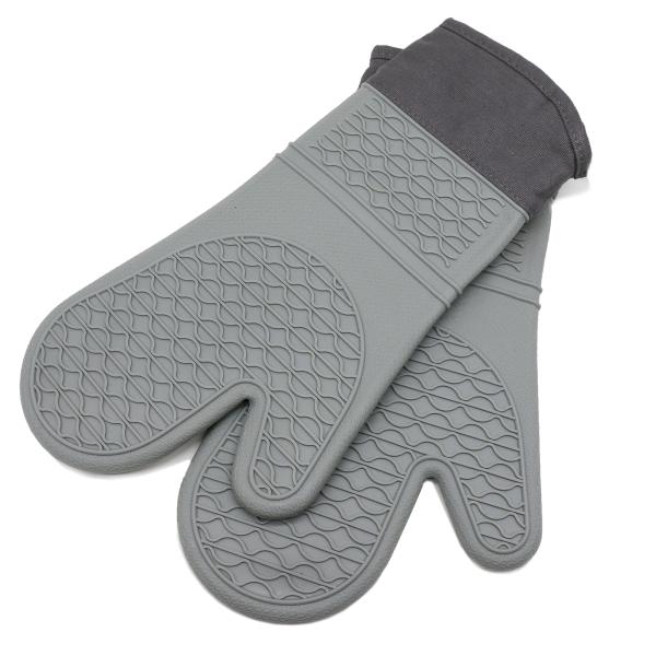 2-er Set Ofenhandschuh aus Silikon mit Textilrand, Universalgröße, Farbe grau, Serie Glove-2