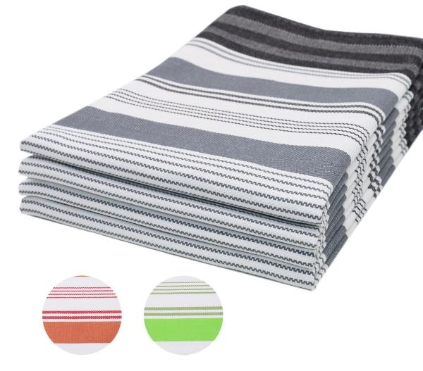 4er-Set Geschirrtücher aus 100% saugfähiger Baumwolle, Größe ca. 50x70 cm, verfügbar in den drei modischen Farben: grün, rot, grau, gestreift