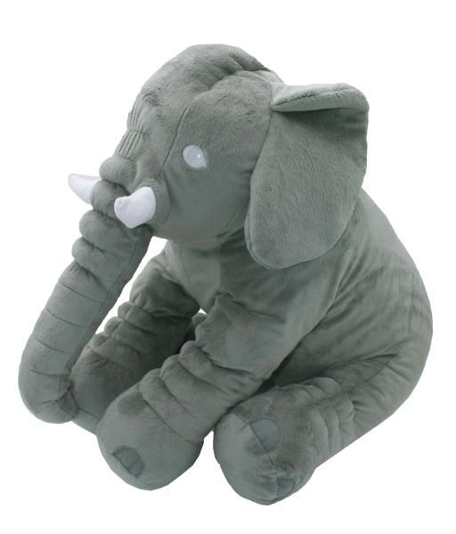 Weiches Babykissen als Elefant aus 100% anpassungsfähigem Polyester, Größe ca. 60x30x45 cm, Farbe grau, Serie Benny