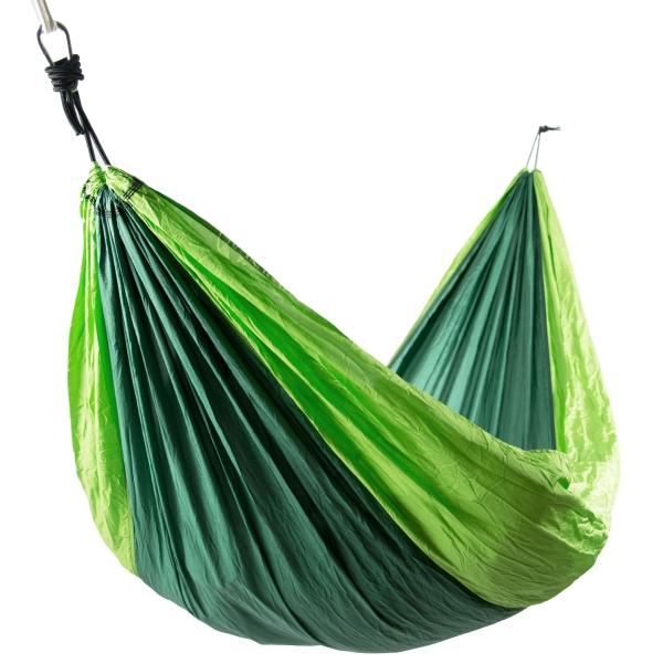 robuste Hängematte aus Fallschirmnylon, belastbar bis max. 300 kg, Farbe: grün-hellgrün, erhältlich in den Größen 275x140 cm oder 300x200 cm