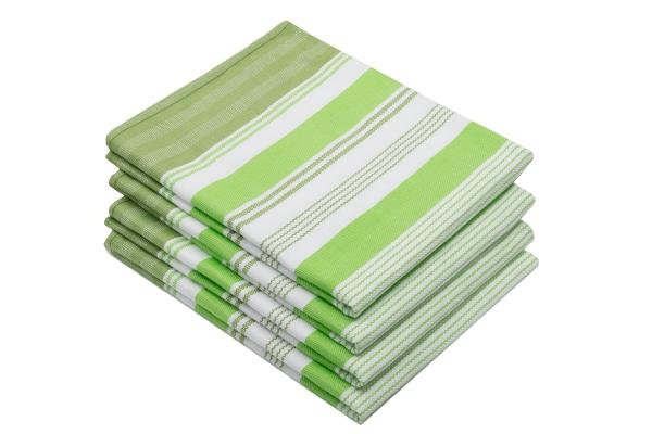 4er-Set Geschirrtücher aus 100% saugfähiger Baumwolle, Größe ca. 50x70 cm, verfügbar in den drei modischen Farben: grün, rot, grau, gestreift, Serie Line