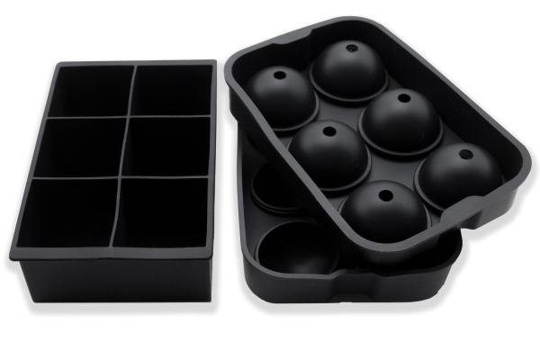 2-er Set wiederverwendbare Eiswürfelform aus Silikon, kugelförmig und würfelförmig, Farbe schwarz