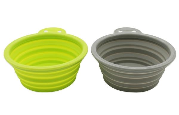 2er Set faltbarer Reisenapf aus Silikon, Größe ca. 13x13x5,5 cm, Farbe grau und grün, Serie Pet-Bowl-2