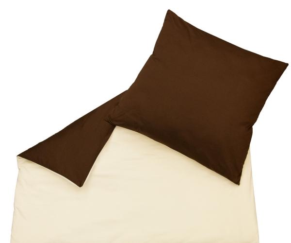 2-teilige Wendebettwäsche uni aus 100% Polyester mit Reißverschluss (80x80 cm + 140x200 cm), in vier verschiedenen Farben: braun-natur, rot-terracotta, anthrazit-silber, Serie Lele